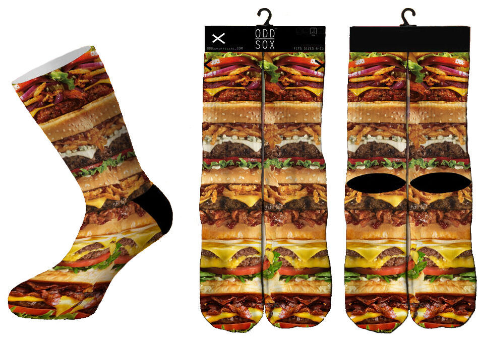 Odd Sox Fromage Hamburger Pile Fast Food Sublimé Chaussettes Crew 6-13 Nwt