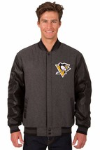Pittsburgh Penguins Wool & Leather Reversible Jacket with Embroidered Logos gray - $269.99