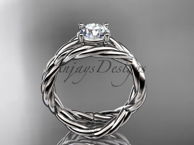 Infinity wedding ring, rope engageent ring, 14kt white gold twisted rope engagem