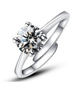 Fashion Silver Color CZ Crystal Wedding Rings For Women Romantic Luxury ... - $7.70