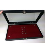 72 Ring Display Glass Top Case w/ burgundy 72 slot insert Jewelry Organi... - $27.99