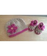 Newborns Crochet Set (Hat & Booties)/ Gold & Pink  - $25.00