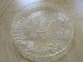"CHRISTMAS HOLIDAY ROUND GLASS PLATTER 12.5"" VILLAGE SCENE SALE - $5.89"
