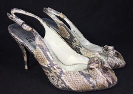 Stuart Weitzman Tulip Roccia Python Snakeskin Reptile Heels Sandals Peep Toe 5 - $49.99