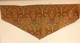 2 WAVERLY Home CLASSICS Ascot Valance PAISLEY GOLD Teal 50x22 Rod Pocket - $23.33