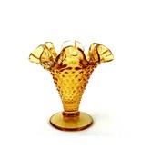 "Fenton Amber Hobnail Miniature Vase, 4"" High, Round Base, #FNT221B - $19.55"