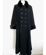 Marvin Richards Black Wool Coat Mink Collar Cuffs 10 Double Breasted Dressy - $149.99