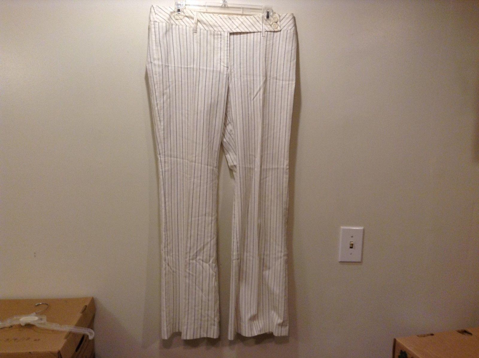 H&M Women's White w Tan Black Vertical Stripes Dress Pants Sz 12