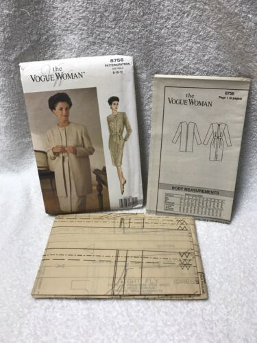 The Vogue Woman 8756 Misses Miss Petite Jacket Dress Sewing Pattern image 8