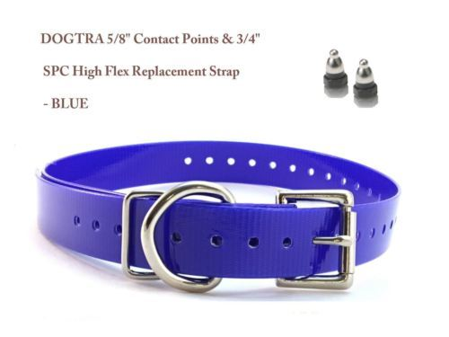 "DOGTRA 5/8"" Contact Points & 3/4"" SPC High Flex Replacement Strap - Blue"