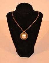 """Monet Pendant Chain Necklace Long Gold Tone White 32"""" - $9.90"""