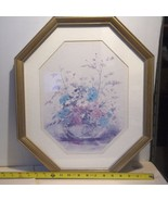 Framed Gold Metal Octagon Under Glass Print Pretty Purple & Blue Flowers... - $7.27