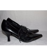 Etienne Aigner Black Leather LISBON Pointy Lace Up Heels 9 For Women Used - $34.64