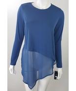 Alfani Womens Petite Medium PM Blue Layer Look Asymmetric Hem Career Blo... - $22.43