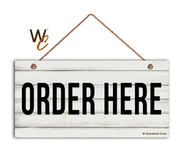 Order Here Sign, Restaurant 5 x 10 Wood Sign, Cashier and Store Sign, Ca... - $11.39