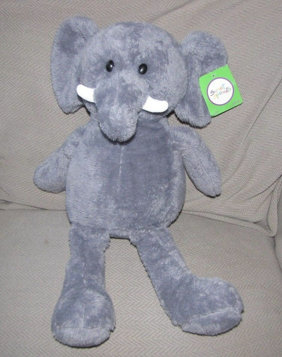 Primary image for Animal Adventure Sweet Sprouts 2014 Gray Elephant Plush Stuffed Animal Lovey Tag