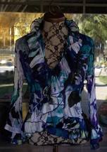 Nice Ruffle Layered Trim Embellished Crinkle Sheer Blouse Sz. M Petite  ... - $12.86