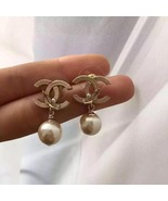 Authentic CHANEL Classic Signature Crystal CC Logo Pearl Drop Earrings G... - $250.00