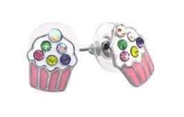 Pink - Cupcake Colorful Sprinkle Pendant Necklace Post Stud Earrings Par... - $27.98