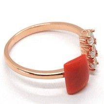 Silberring 925, Pink, Trilogie, Rote Koralle Cabochon, Made in Italien image 2