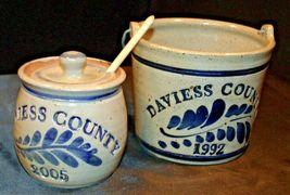 Daviess County Westerwald Stoneware Honey Pot Lid Stir Stick & Bowl with handle image 3