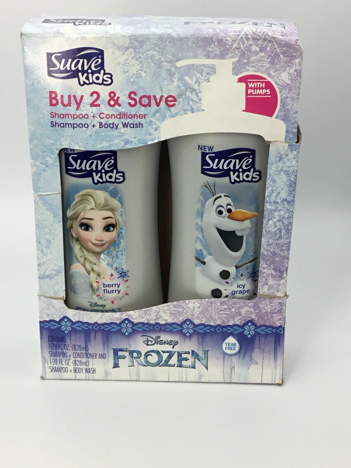 Suave Kids Frozen Shampoo / Conditioner and Body Wash with Pumps 28FL OZ Each