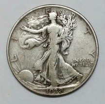 1938D Walking Liberty Half Dollar 90% Silver Coin Lot# EA 343