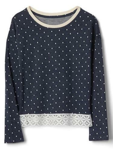 Primary image for Gap Kids Girls Top 14 16 Navy Blue Polka Dot French Terry Long Sleeve Lace Trim