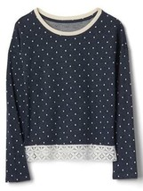 Gap Kids Girls Top 14 16 Navy Blue Polka Dot French Terry Long Sleeve La... - $26.68