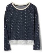 Gap Kids Girls Top 14 16 Navy Blue Polka Dot French Terry Long Sleeve La... - $26.68