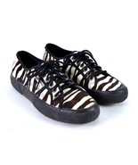 Superga Zebra Stripe Pig Skin Leather Tennis Shoes Sneakers Lace Up Wome... - $38.60