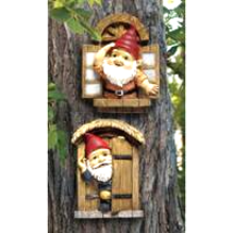 The Knothole Gnomes Garden Welcome Tree Sculpture: Window & Door Gnomes - $39.58