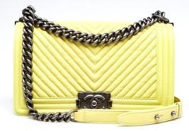 CHANEL Light Green Chevron Quilted Lambskin Leather Medium Boy Flap Bag - $3,955.05