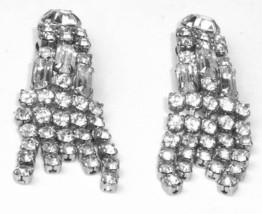 Baguette Rhinestone Pageant Runway Drag Queen Vintage 1950's Statement Earrings - $30.50