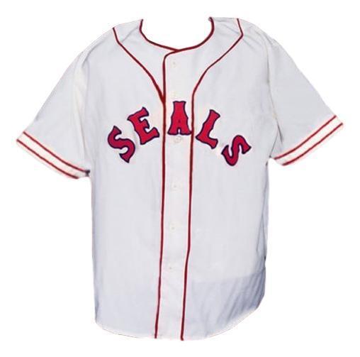 San francisco seals pcl retro baseball jersey 1957 button down white   1