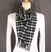 "Black Grey Gray White pattern plaid check super soft scarf 64"" long - $20.68 CAD"