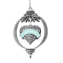 Inspired Silver Mint Grandma Pave Heart Holiday Christmas Tree Ornament With Cry - $14.69
