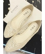 Ivory Lace Wedding Shoes/ Beige Lace Flat Shoes/ Off White Lace Flats Shoes