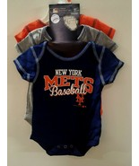NEW YORK METS BASEBALL 3 PIECE BABY BODYSUIT SET SZ 6/9 MONTHS - $15.19
