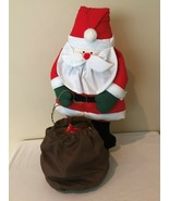 Santa Holiday Christmas Decoration Standing Cloth Full Body Toy Sack Woo... - $59.99