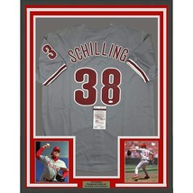FRAMED Autographed/Signed CURT SCHILLING 33x42 Philadelphia Grey Jersey ... - $449.99