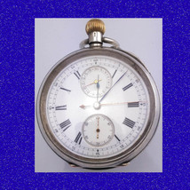 Vintage Silver Longines 23J Chronograph Officers Stop Pocket Watch 1914 - $1,052.02