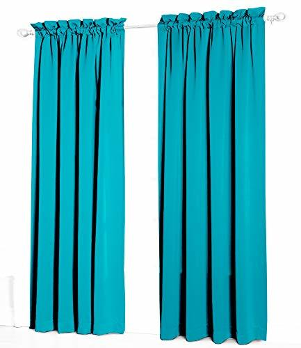 Urbanest Pair of 2 Faux Silk Drapery Curtain Panels with Lining, Teal, 50-inch b