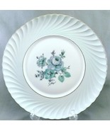"Royal Tettau Dawn Rose Salad Plate Celedon Green Roses Platinum Trim 7.75"" - $9.90"