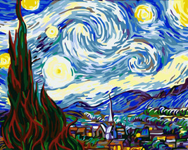 """Paint by Numbers Canvas Oil Painting by Numbers Kit 16""""x 20"""" Starry Nigh... - $19.99"""