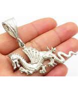 1 OF A KIND 925 Sterling Silver- Vintage Large Angry Dragon Drop Pendant... - $59.46