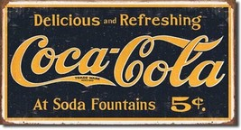 Coca Cola Coke 5 Cent 1910 Logo Ad Retro Vintage Wall Art Decor Metal Ti... - $14.99