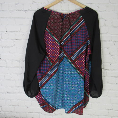 Calvin Klein Blouse Shirt Top Womens XL Black Red Multicolor D33