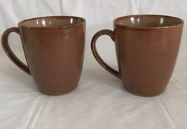 "Sango Roma Caramel Mugs / Cups Pair 4"" Tall   #4815 Slightly Ribbed Outer - $14.84"