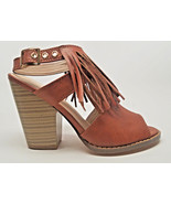 CLEARANCE!!  TAN SANDALS Size 7 high heel stacked Vegan leather buckle f... - $12.86